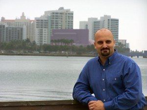 Founder / Author David G. Johnson in front of the beautiful Sarasota skyline.