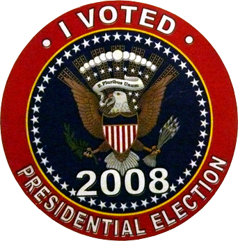 I Voted 2008 Presidential Election Sticker