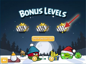 Angry Birds for Chrome Christmas Bonus Levels Unlock Code