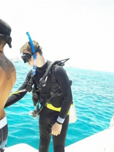Spencer getting ready for Coral Transplant Dive