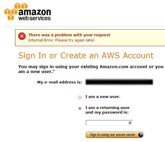 Amazon Sign-In Error