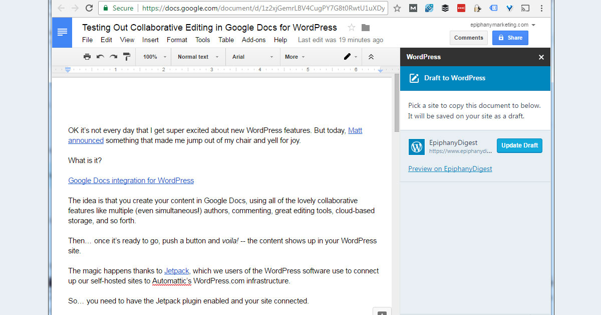 WordPress - Google Docs Integration